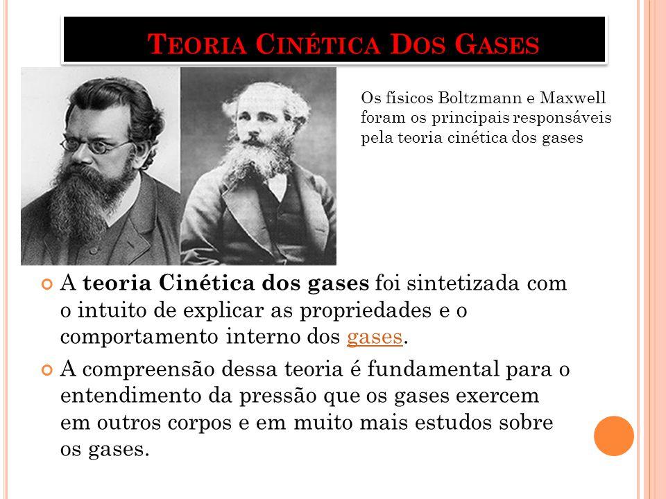 A TEORIA C INÉTICA DOS GASES DIZ QUE : - Todo gás é composto de inúmeras moléculas que se movimentam de forma desordenada e com uma alta velocidade.