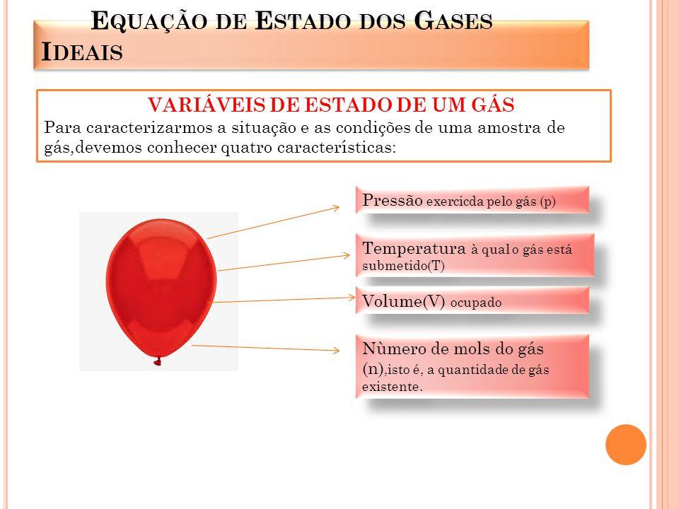 Um gás pode passar por três tipos de variáveis de estado: quanto ao seu volume, quanto à temperatura e quanto à pressão.