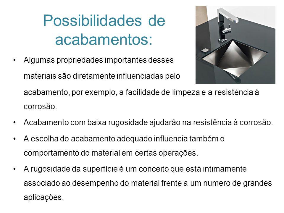 Possibilidades de acabamentos: Algumas propriedades importantes desses materiais são diretamente influenciadas pelo acabamento, por exemplo, a facilid