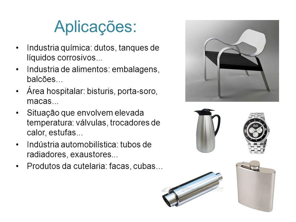 Aplicações: Industria química: dutos, tanques de líquidos corrosivos... Industria de alimentos: embalagens, balcões... Área hospitalar: bisturis, port