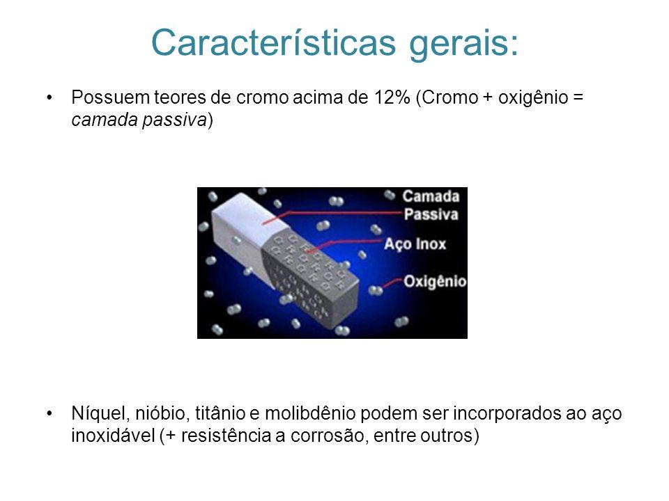 Características gerais: Possuem teores de cromo acima de 12% (Cromo + oxigênio = camada passiva) Níquel, nióbio, titânio e molibdênio podem ser incorp