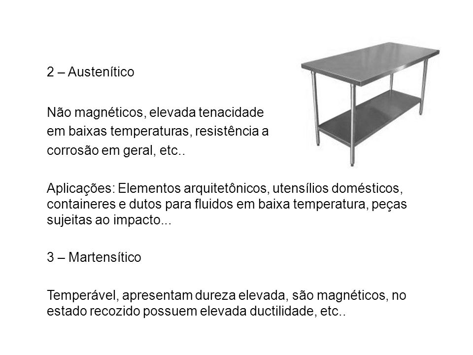 2 – Austenítico Não magnéticos, elevada tenacidade em baixas temperaturas, resistência a corrosão em geral, etc.. Aplicações: Elementos arquitetônicos