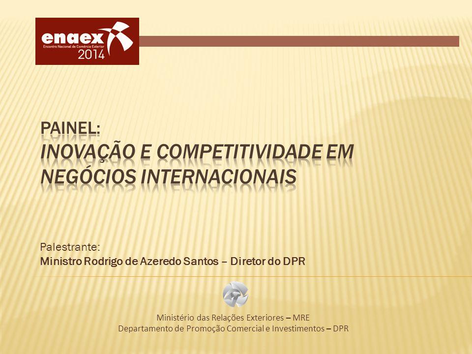 Palestrante: Ministro Rodrigo de Azeredo Santos – Diretor do DPR Ministério das Relações Exteriores – MRE Departamento de Promoção Comercial e Investi