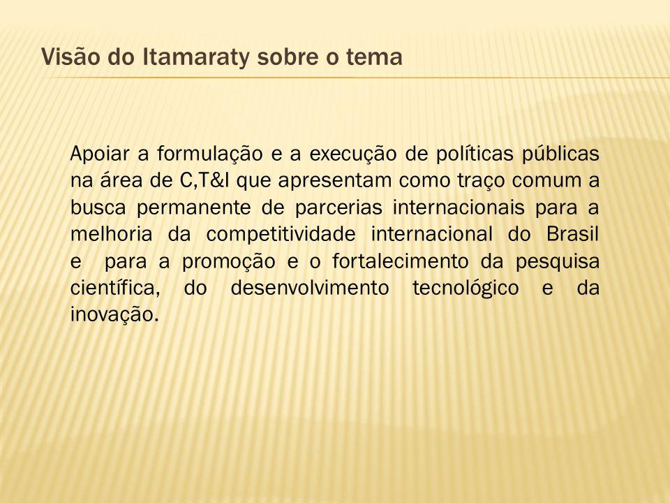 Visão do Itamaraty sobre o tema Apoiar a formulação e a execução de políticas públicas na área de C,T&I que apresentam como traço comum a busca perman