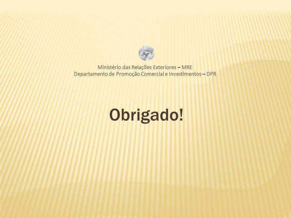 Obrigado! Ministério das Relações Exteriores – MRE Departamento de Promoção Comercial e Investimentos – DPR