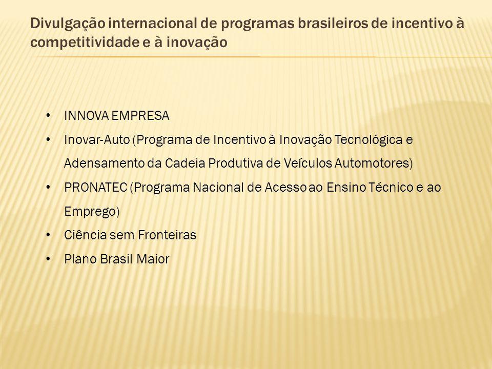 Divulgação internacional de programas brasileiros de incentivo à competitividade e à inovação INNOVA EMPRESA Inovar-Auto (Programa de Incentivo à Inov