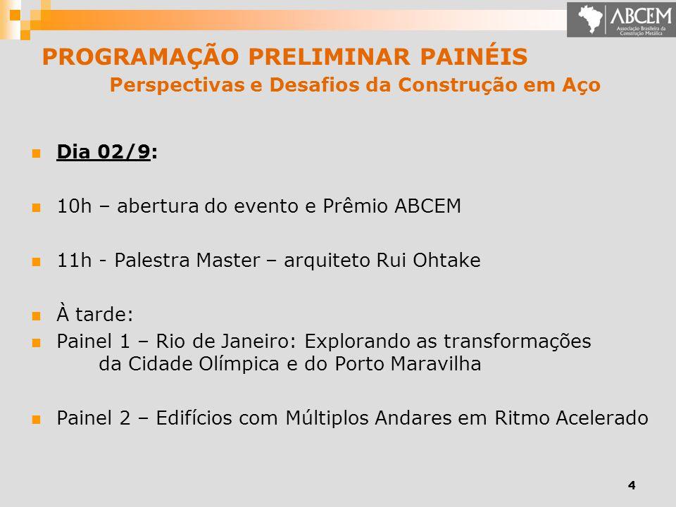 PROGRAMAÇÃO PRELIMINAR PAINÉIS Perspectivas e Desafios da Construção em Aço Dia 02/9: 10h – abertura do evento e Prêmio ABCEM 11h - Palestra Master –