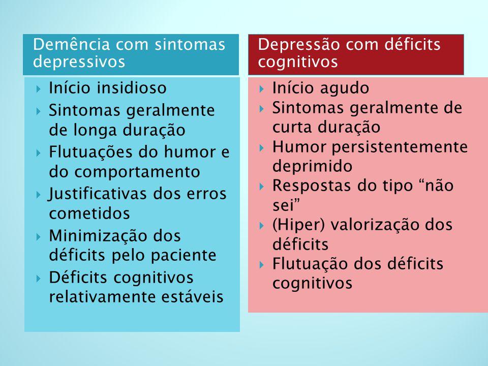 Demência com sintomas depressivos Depressão com déficits cognitivos  Início insidioso  Sintomas geralmente de longa duração  Flutuações do humor e