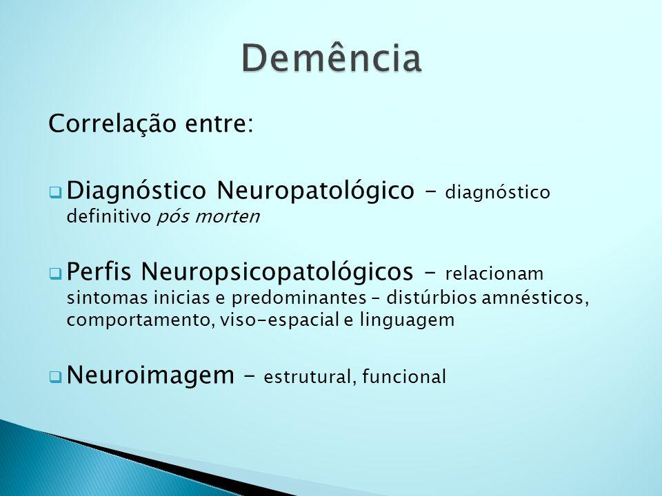 Correlação entre:  Diagnóstico Neuropatológico – diagnóstico definitivo pós morten  Perfis Neuropsicopatológicos – relacionam sintomas inicias e pre
