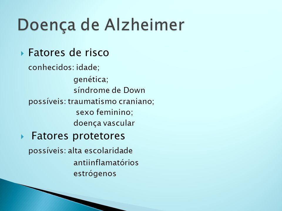  Fatores de risco conhecidos: idade; genética; síndrome de Down possíveis: traumatismo craniano; sexo feminino; doença vascular  Fatores protetores
