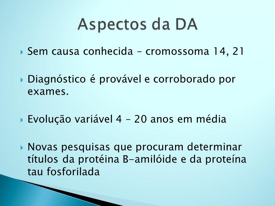  Sem causa conhecida – cromossoma 14, 21  Diagnóstico é provável e corroborado por exames.  Evolução variável 4 – 20 anos em média  Novas pesquisa