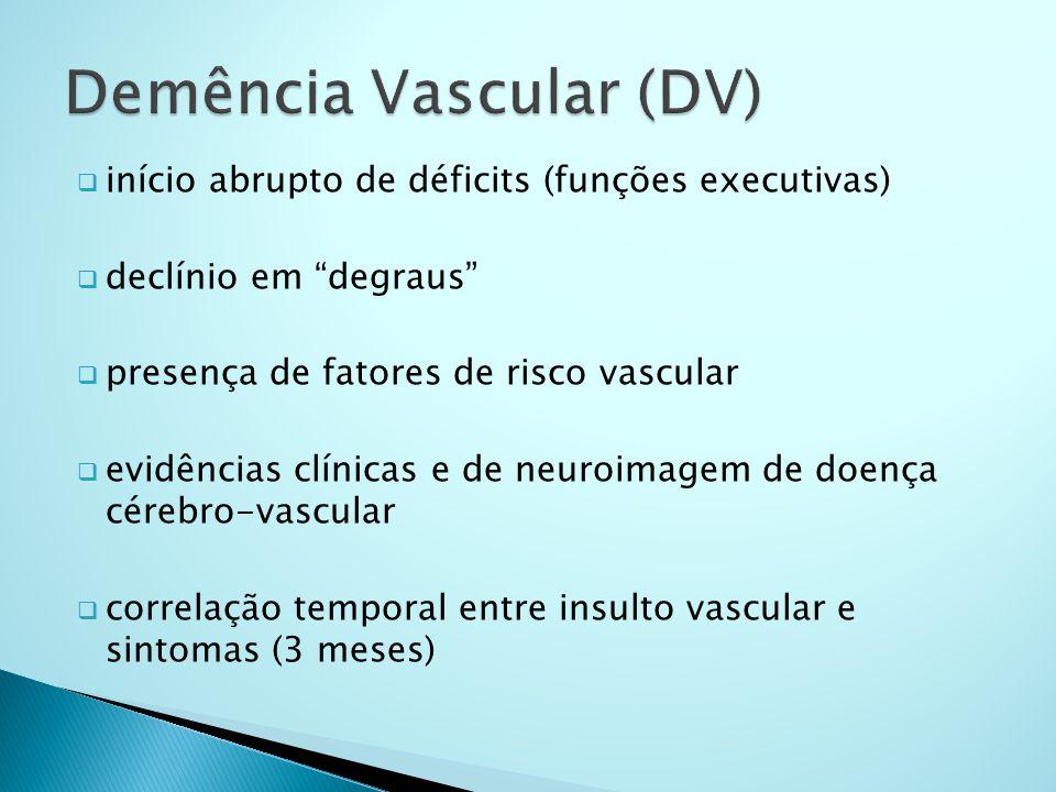 """ início abrupto de déficits (funções executivas)  declínio em """"degraus""""  presença de fatores de risco vascular  evidências clínicas e de neuroimag"""