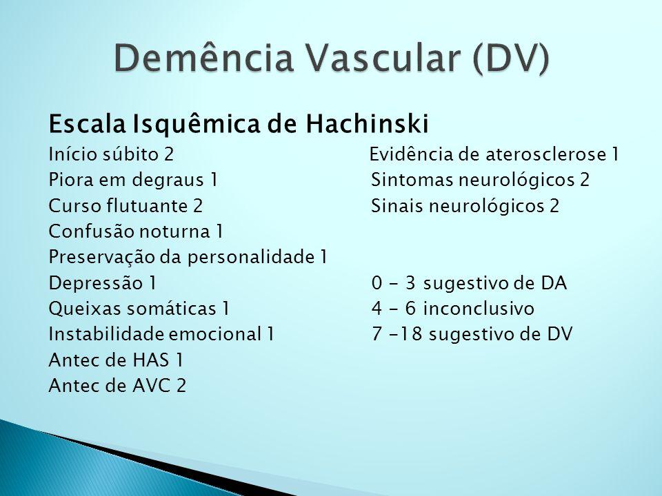 Escala Isquêmica de Hachinski Início súbito 2 Evidência de aterosclerose 1 Piora em degraus 1 Sintomas neurológicos 2 Curso flutuante 2 Sinais neuroló
