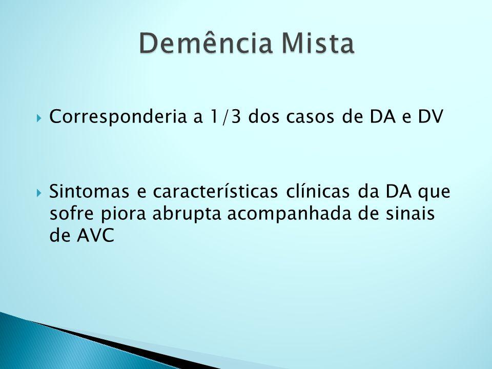  Corresponderia a 1/3 dos casos de DA e DV  Sintomas e características clínicas da DA que sofre piora abrupta acompanhada de sinais de AVC
