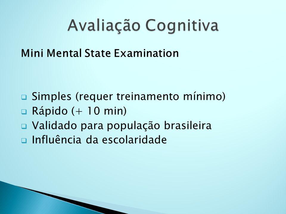 Mini Mental State Examination  Simples (requer treinamento mínimo)  Rápido (+ 10 min)  Validado para população brasileira  Influência da escolarid