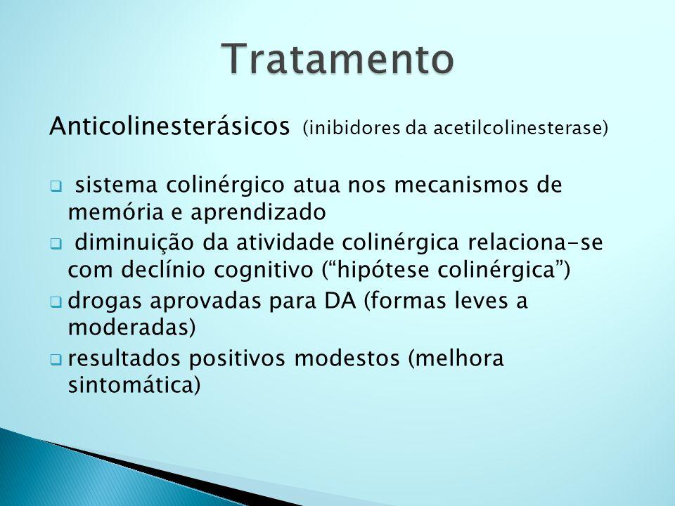 Anticolinesterásicos (inibidores da acetilcolinesterase)  sistema colinérgico atua nos mecanismos de memória e aprendizado  diminuição da atividade