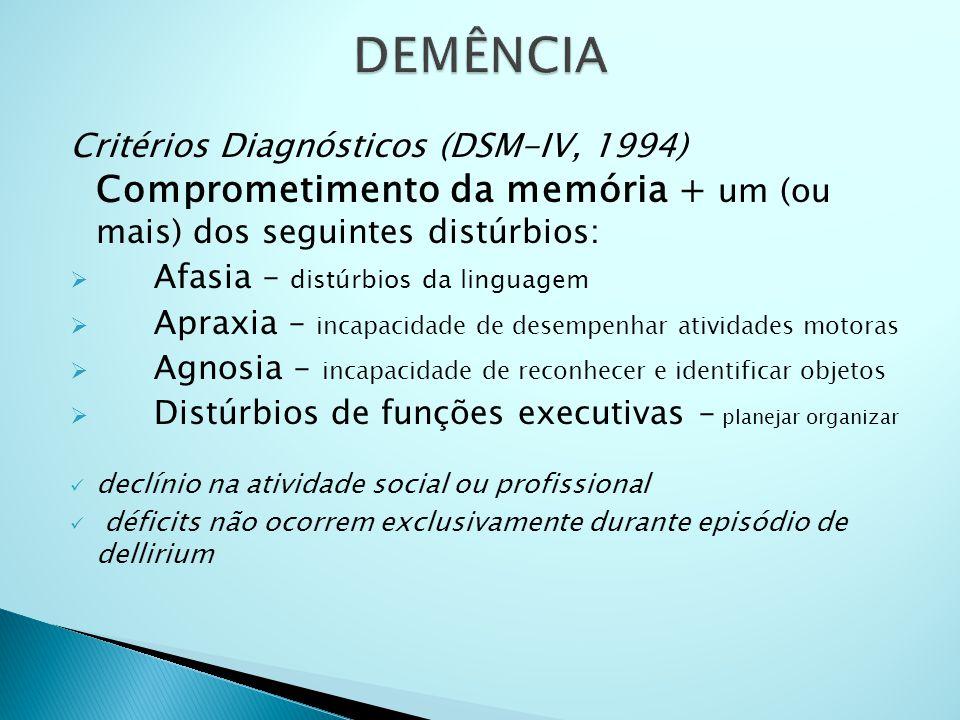 Critérios Diagnósticos (DSM-IV, 1994) Comprometimento da memória + um (ou mais) dos seguintes distúrbios:  Afasia – distúrbios da linguagem  Apraxia