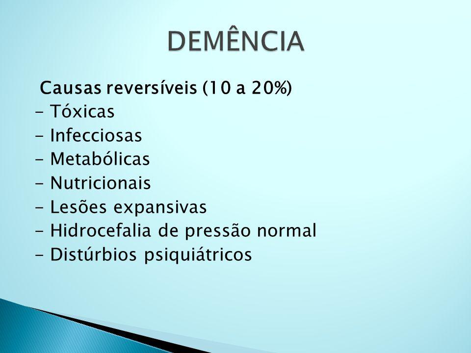 Causas reversíveis (10 a 20%) - Tóxicas - Infecciosas - Metabólicas - Nutricionais - Lesões expansivas - Hidrocefalia de pressão normal - Distúrbios p