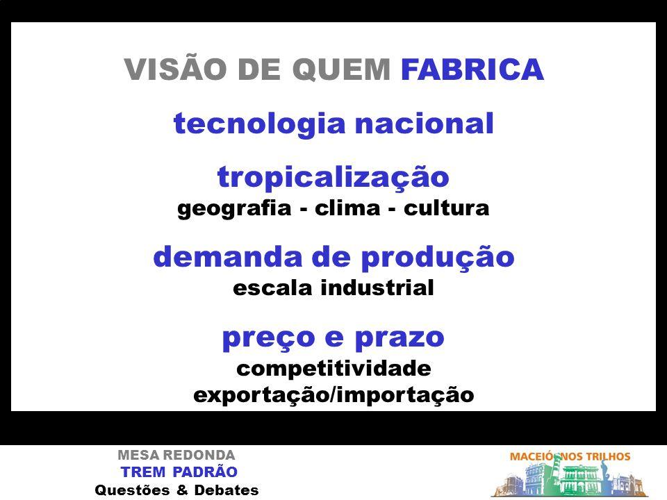 MESA REDONDA TREM PADRÃO Questões & Debates VISÃO DE QUEM FABRICA tecnologia nacional tropicalização geografia - clima - cultura demanda de produção e
