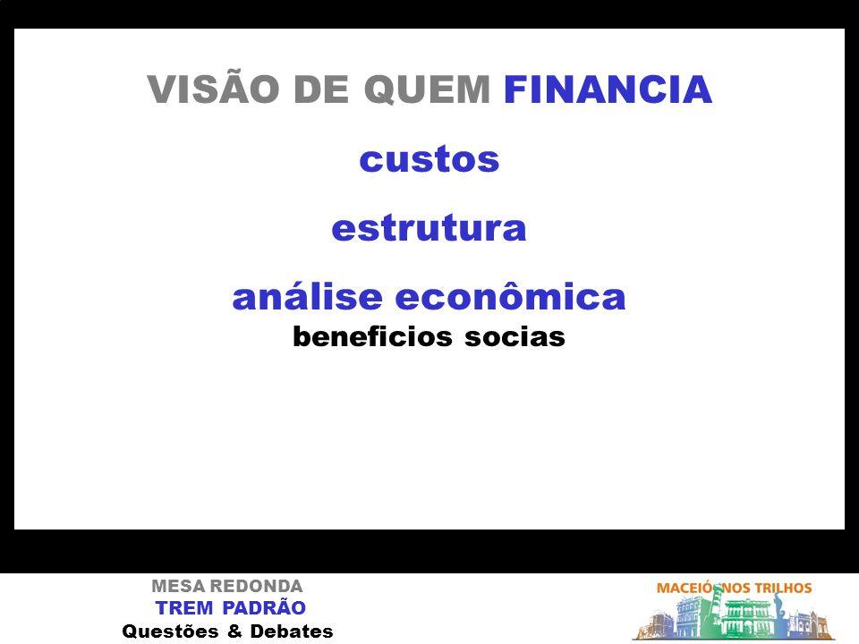 MESA REDONDA TREM PADRÃO Questões & Debates VISÃO DE QUEM FINANCIA custos estrutura análise econômica beneficios socias