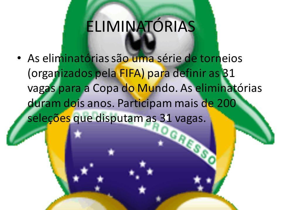 ELIMINATÓRIAS As eliminatórias são uma série de torneios (organizados pela FIFA) para definir as 31 vagas para a Copa do Mundo. As eliminatórias duram