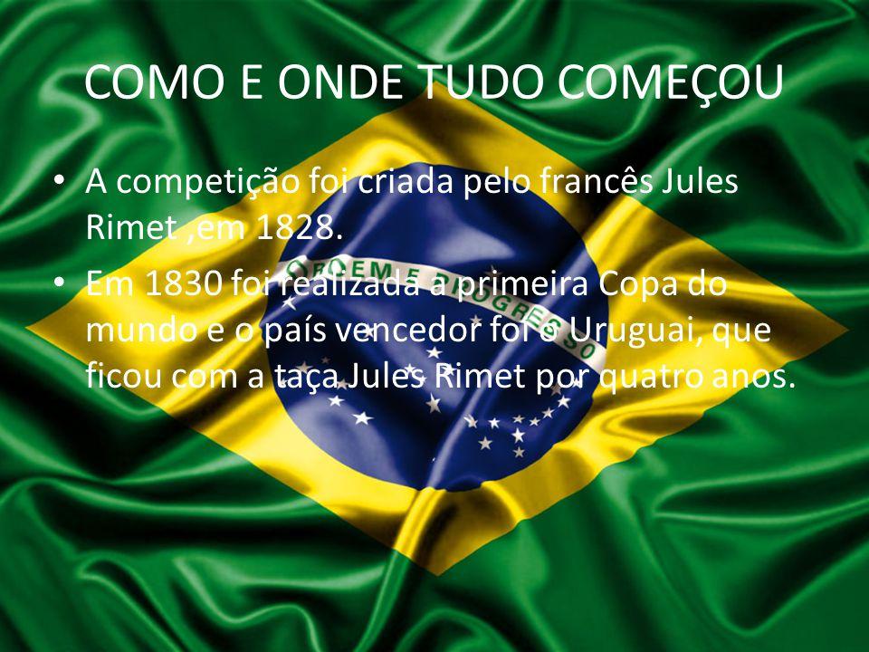 COMO E ONDE TUDO COMEÇOU A competição foi criada pelo francês Jules Rimet,em 1828. Em 1830 foi realizada a primeira Copa do mundo e o país vencedor fo