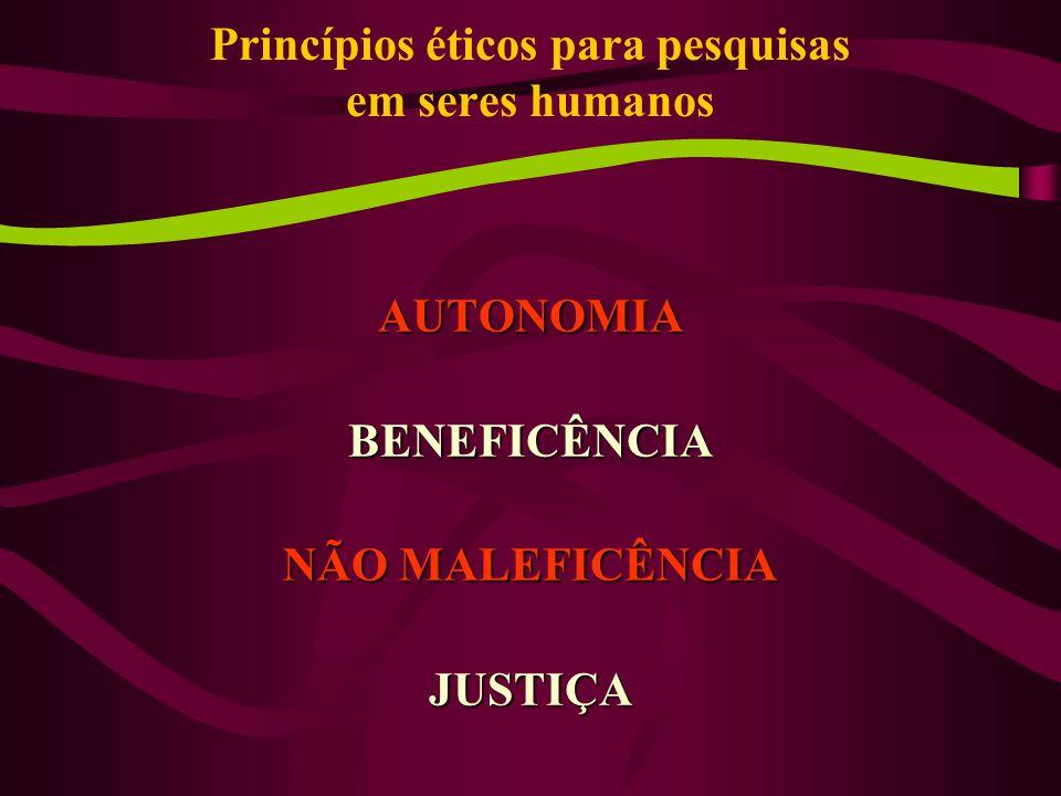 AUTONOMIABENEFICÊNCIA NÃO MALEFICÊNCIA JUSTIÇA Princípios éticos para pesquisas em seres humanos