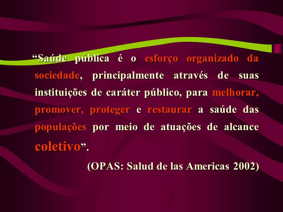 Saúde pública é o esforço organizado da sociedade, principalmente através de suas instituições de caráter público, para melhorar, promover, proteger e restaurar a saúde das populações por meio de atuações de alcance coletivo .