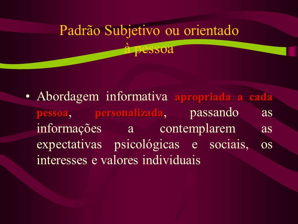 Padrão Subjetivo ou orientado à pessoa apropriada a cada pessoapersonalizadaAbordagem informativa apropriada a cada pessoa, personalizada, passando as informações a contemplarem as expectativas psicológicas e sociais, os interesses e valores individuais