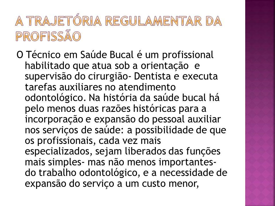 O Técnico em Saúde Bucal é um profissional habilitado que atua sob a orientação e supervisão do cirurgião- Dentista e executa tarefas auxiliares no at