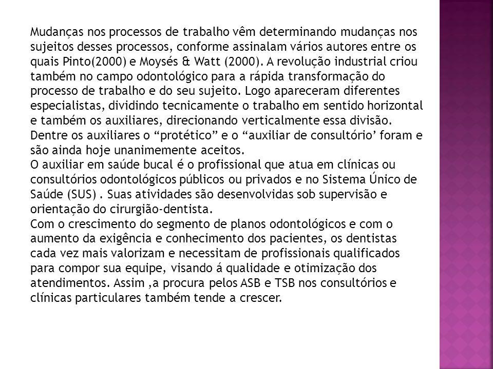 Mudanças nos processos de trabalho vêm determinando mudanças nos sujeitos desses processos, conforme assinalam vários autores entre os quais Pinto(200