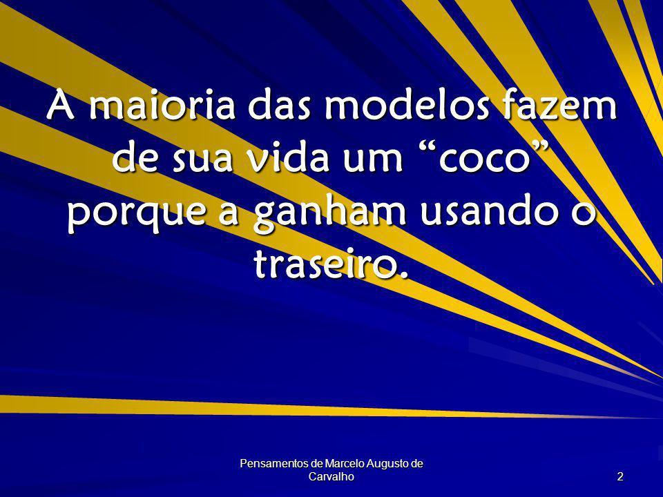 Pensamentos de Marcelo Augusto de Carvalho 2 A maioria das modelos fazem de sua vida um coco porque a ganham usando o traseiro.