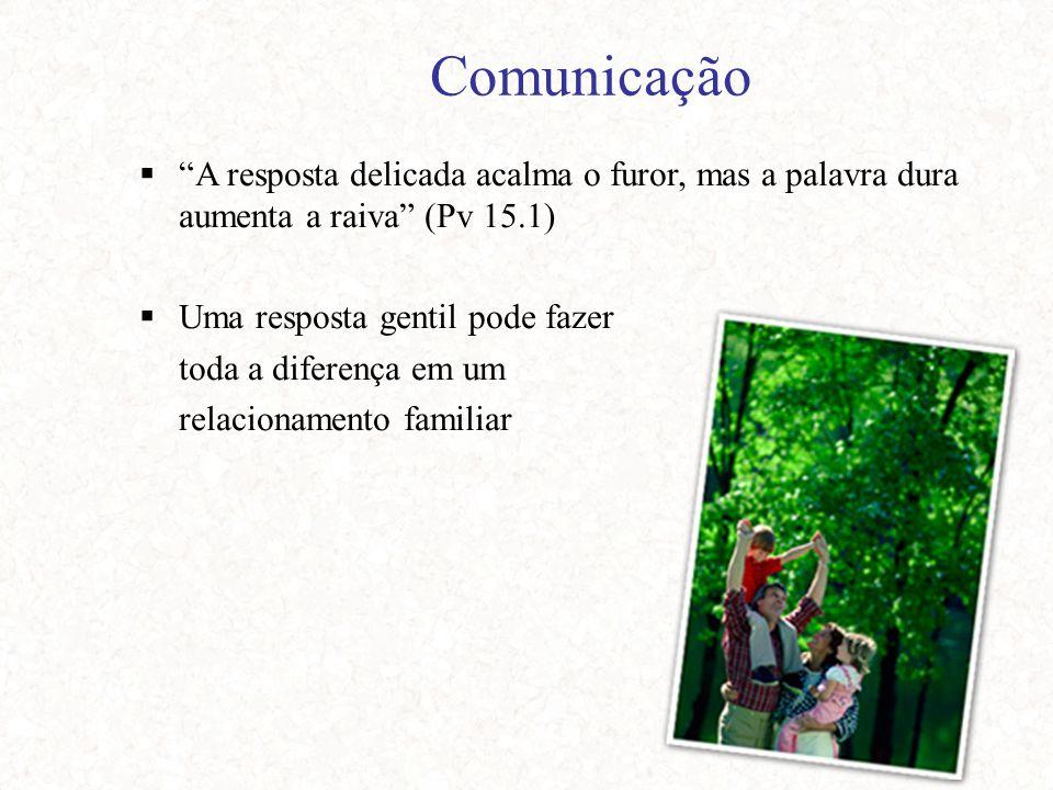 Comunicação  A resposta delicada acalma o furor, mas a palavra dura aumenta a raiva (Pv 15.1)  Uma resposta gentil pode fazer toda a diferença em um relacionamento familiar