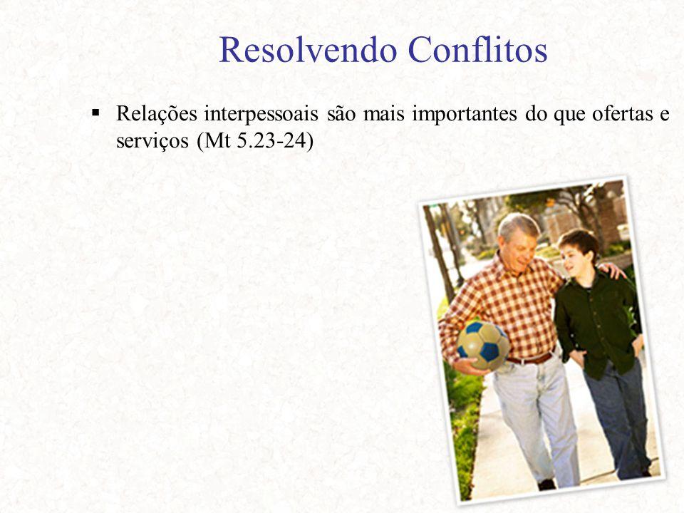 Resolvendo Conflitos  Relações interpessoais são mais importantes do que ofertas e serviços (Mt 5.23-24)
