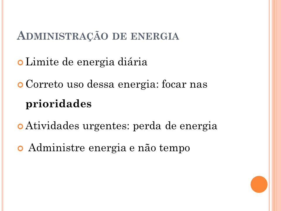 A DMINISTRAÇÃO DE ENERGIA Limite de energia diária Correto uso dessa energia: focar nas prioridades Atividades urgentes: perda de energia Administre e