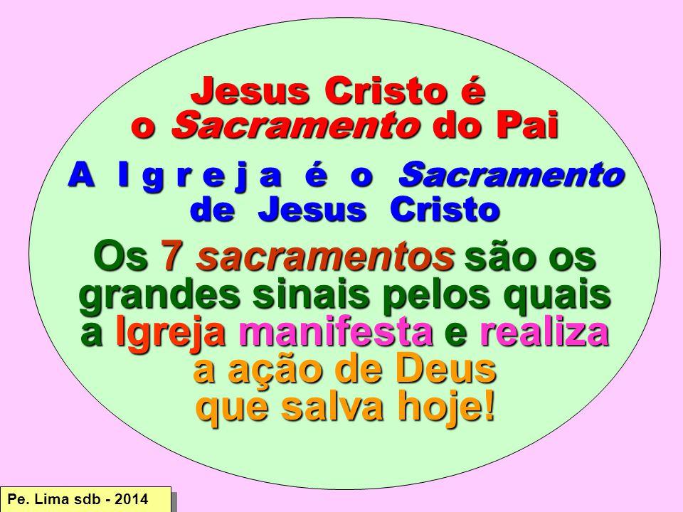 Jesus Cristo é o Sacramento do Pai A I g r e j a é o Sacramento de Jesus Cristo Os 7 sacramentos são os grandes sinais pelos quais a Igreja manifesta e realiza a ação de Deus a ação de Deus que salva hoje.