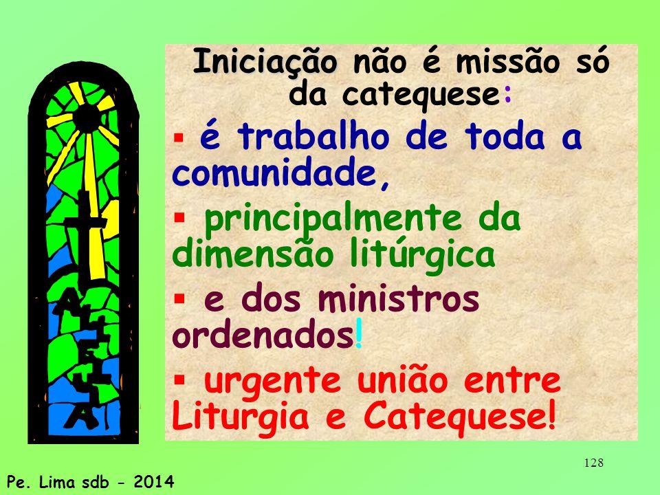 128 Iniciação Iniciação não é missão só da catequese:  é trabalho de toda a comunidade,  principalmente da dimensão litúrgica  e dos ministros ordenados.