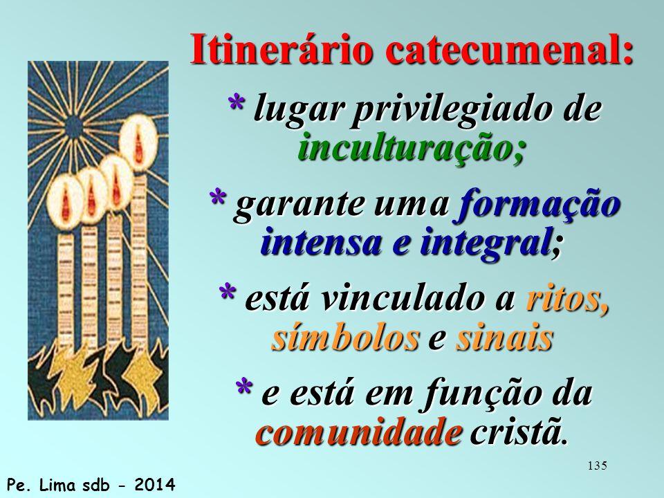 135 Itinerário catecumenal: * lugar privilegiado de inculturação; * garante uma formação intensa e integral; * está vinculado a ritos, símbolos e sinais * e está em função da comunidade cristã.