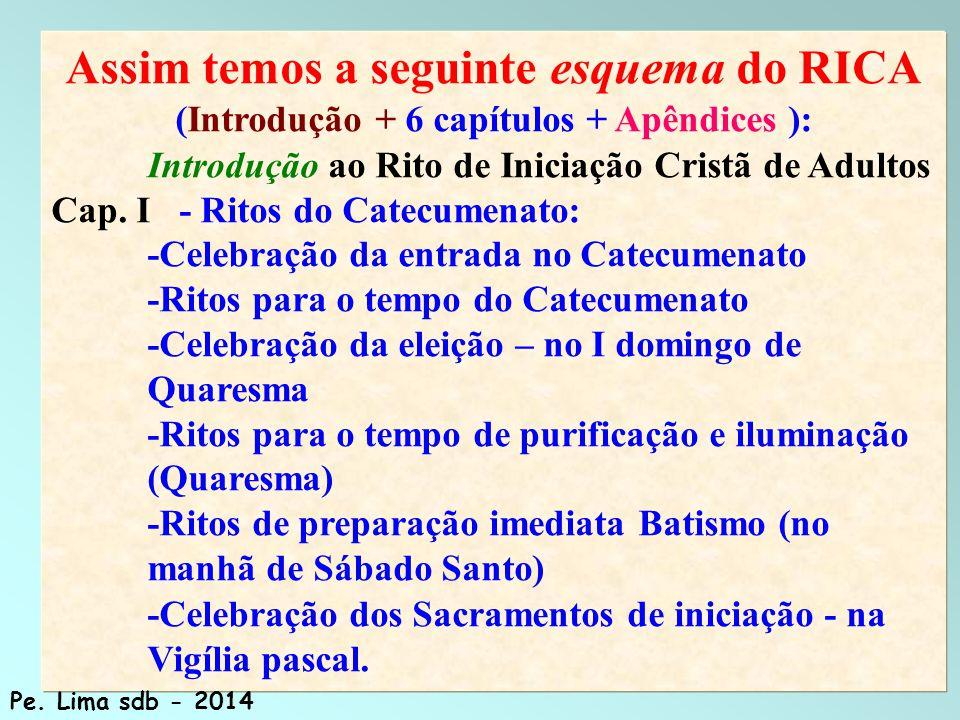 137 Assim temos a seguinte esquema do RICA (Introdução + 6 capítulos + Apêndices ): Introdução ao Rito de Iniciação Cristã de Adultos Cap.