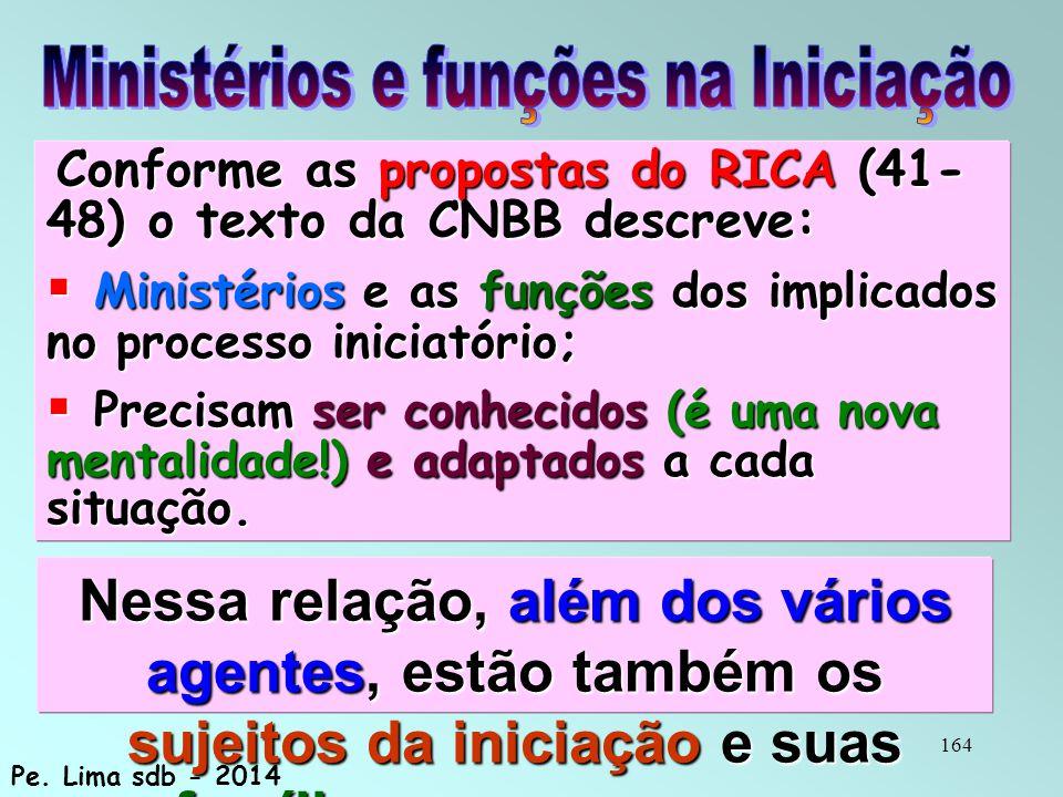 164 Conforme as propostas do RICA (41- 48) o texto da CNBB descreve: Conforme as propostas do RICA (41- 48) o texto da CNBB descreve:  Ministérios e as funções dos implicados no processo iniciatório;  Precisam ser conhecidos (é uma nova mentalidade!) e adaptados a cada situação.
