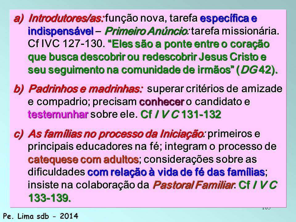 165 a)Introdutores/as: ção nova, tarefa específica e indispensável – Primeiro Anúncio: tarefa missionária.