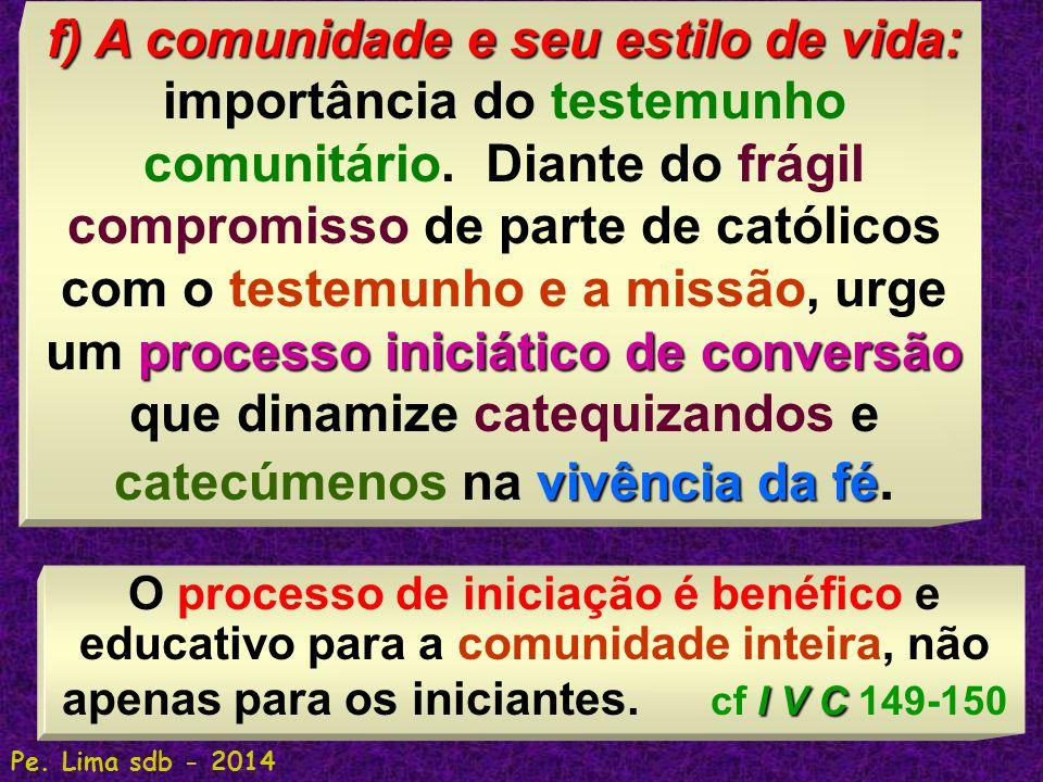 170 f) A comunidade e seu estilo de vida: processo iniciático de conversão vivência da fé f) A comunidade e seu estilo de vida: importância do testemunho comunitário.