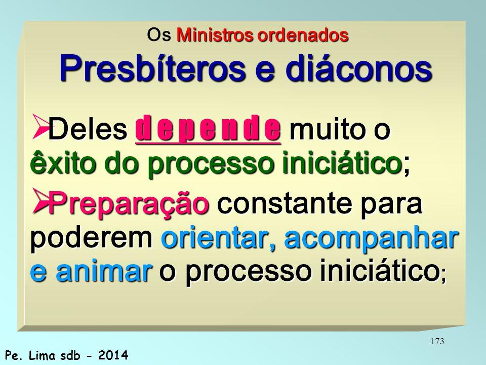 173 Ministros ordenados Os Ministros ordenados Presbíteros e diáconos  Deles d e p e n d e muito o êxito do processo iniciático;  Preparação constante para poderem orientar, acompanhar e animar o processo iniciático ; Pe.