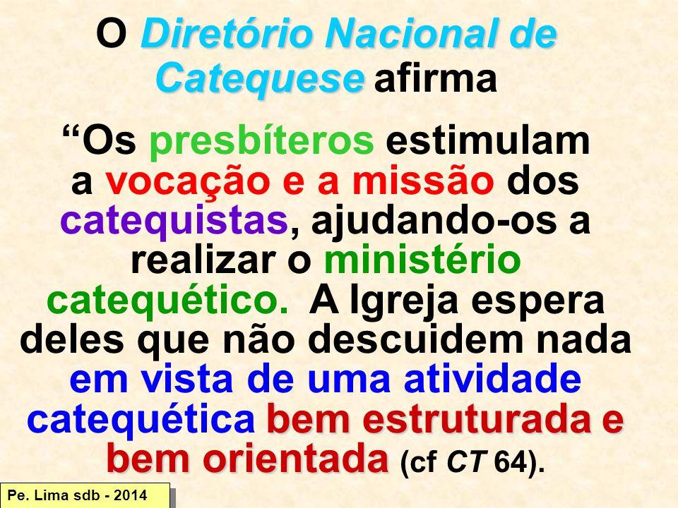 Diretório Nacional de Catequese O Diretório Nacional de Catequese afirma Os presbíteros estimulam bem estruturada e bem orientada a vocação e a missão dos catequistas, ajudando-os a realizar o ministério catequético.