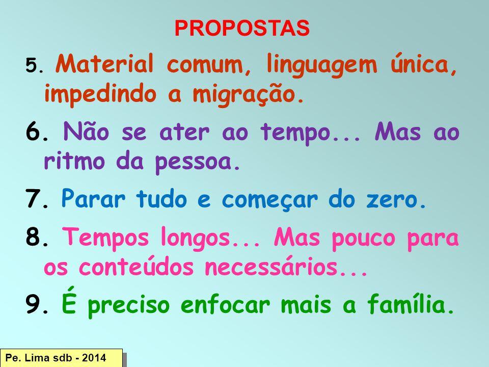 PROPOSTAS 5.Material comum, linguagem única, impedindo a migração.