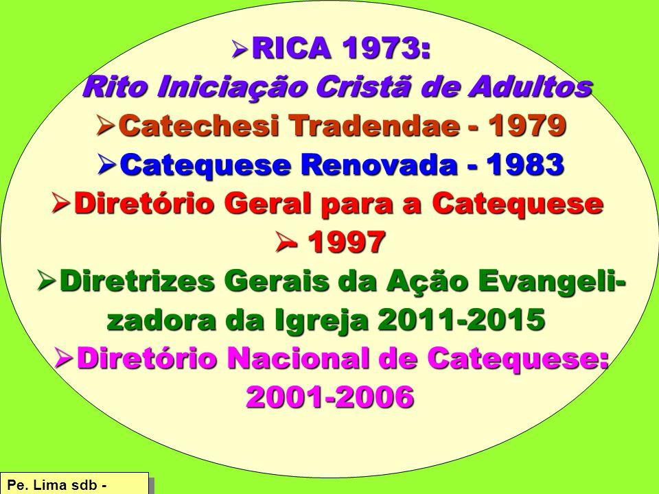 RICA 1973: Rito Iniciação Cristã de Adultos Rito Iniciação Cristã de Adultos  Catechesi Tradendae - 1979  Catequese Renovada - 1983  Diretório Geral para a Catequese  - 1997  Diretrizes Gerais da Ação Evangeli- zadora da Igreja 2011-2015  Diretório Nacional de Catequese: 2001-2006 Pe.