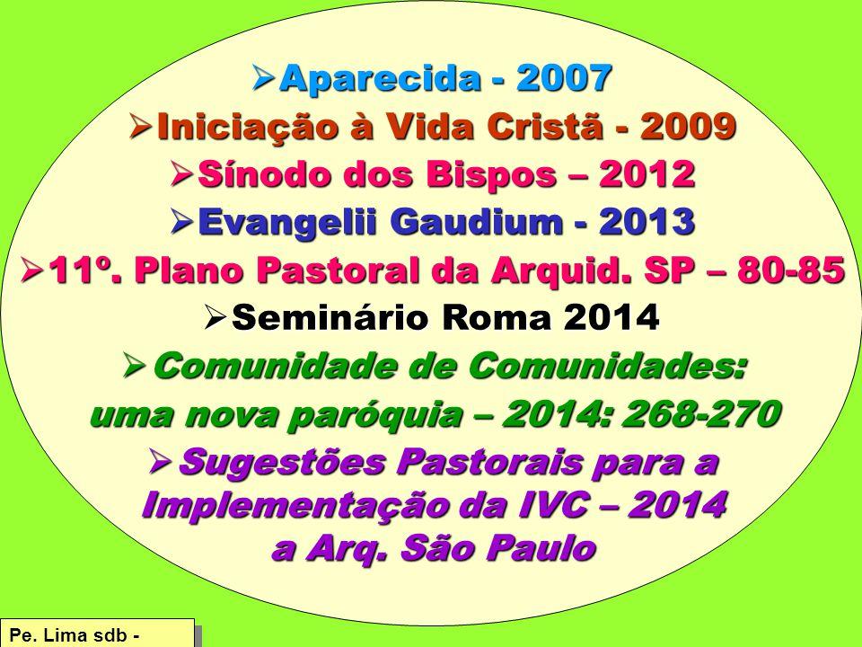 Aparecida - 2007  Iniciação à Vida Cristã - 2009  Sínodo dos Bispos – 2012  Evangelii Gaudium - 2013  11º.