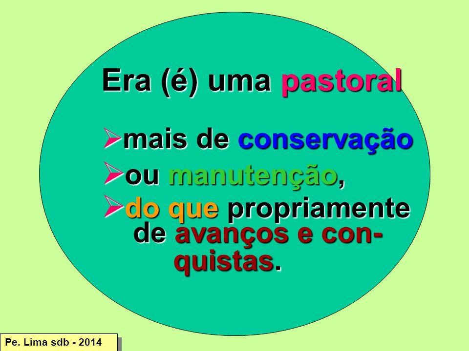 Era (é) uma pastoral  mais de conservação  ou manutenção,  do que propriamente de avanços e con- quistas.