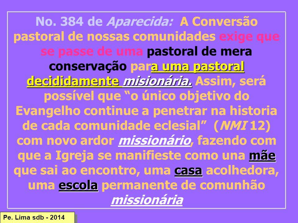 Pe.Lima sdb - 2014 a uma pastoral decididamente misionária.