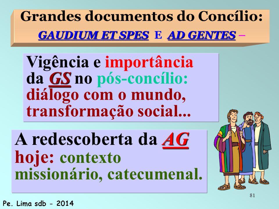 81 Grandes documentos do Concílio: GAUDIUM ET SPESAD GENTES GAUDIUM ET SPES E AD GENTES – AG A redescoberta da AG hoje: contexto missionário, catecumenal.